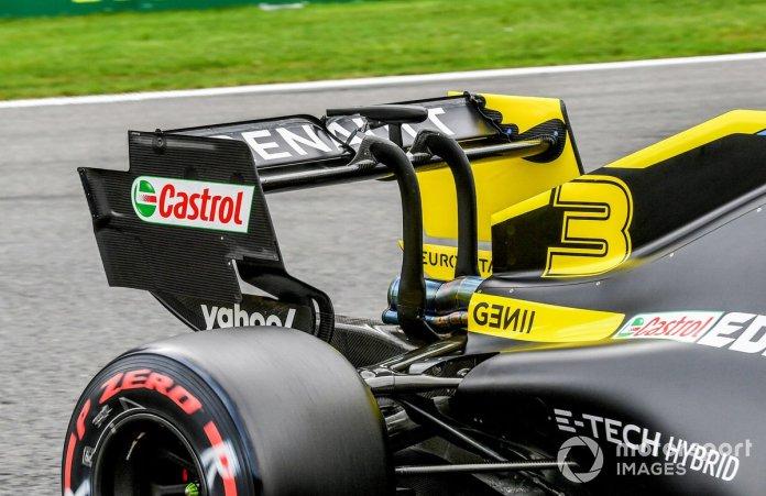 Alerón trasero y DRS del coche de Daniel Ricciardo, Renault F1 Team R.S.20