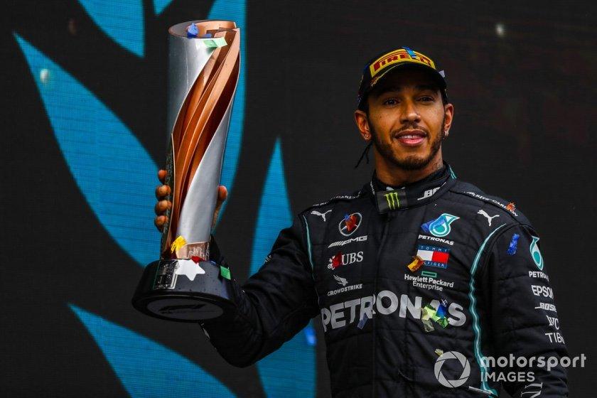 Podium: winner and world champion Lewis Hamilton, Mercedes-AMG F1