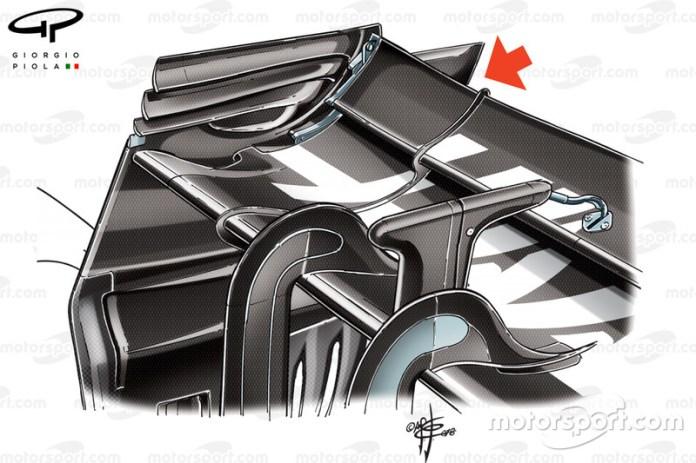 Alerón trasero del Haas VF-18 en el GP de Bélgica