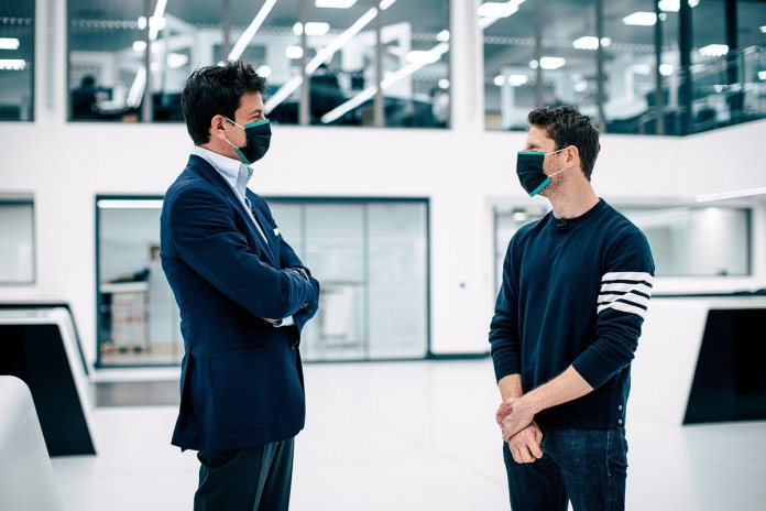 Toto Wolff, Executive Director (Business), Mercedes AMG and Romain Grosjean, Mercedes