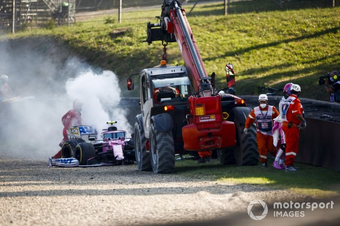 El monoplaza chocado de Lance Stroll, Racing Point RP20