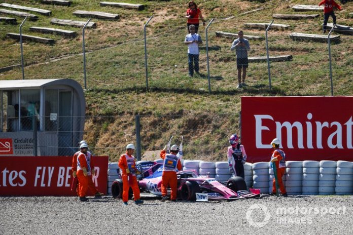 El coche de Lance Stroll, Racing Point RP19, tras su accidente