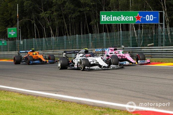 Pierre Gasly, AlphaTauri AT01, Sergio Pérez, Racing Point RP20, Lando Norris, McLaren MCL35