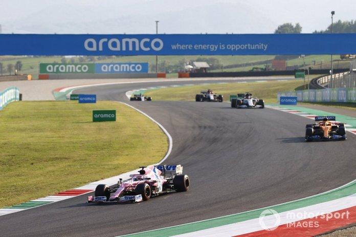 Sergio Pérez, Racing Point RP20, Lando Norris, McLaren MCL35