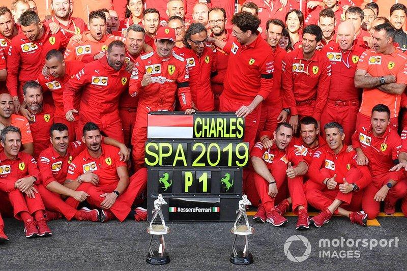 Charles Leclerc, Ferrari, first place, Mattia Binotto, Team Principal Ferrari, Laurent Mekies, Sporting Director, Ferrari, and the Ferrari team celebrate victory