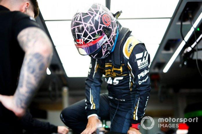 El casco de Romain Grosjean, Haas F1, para el GP de Francia
