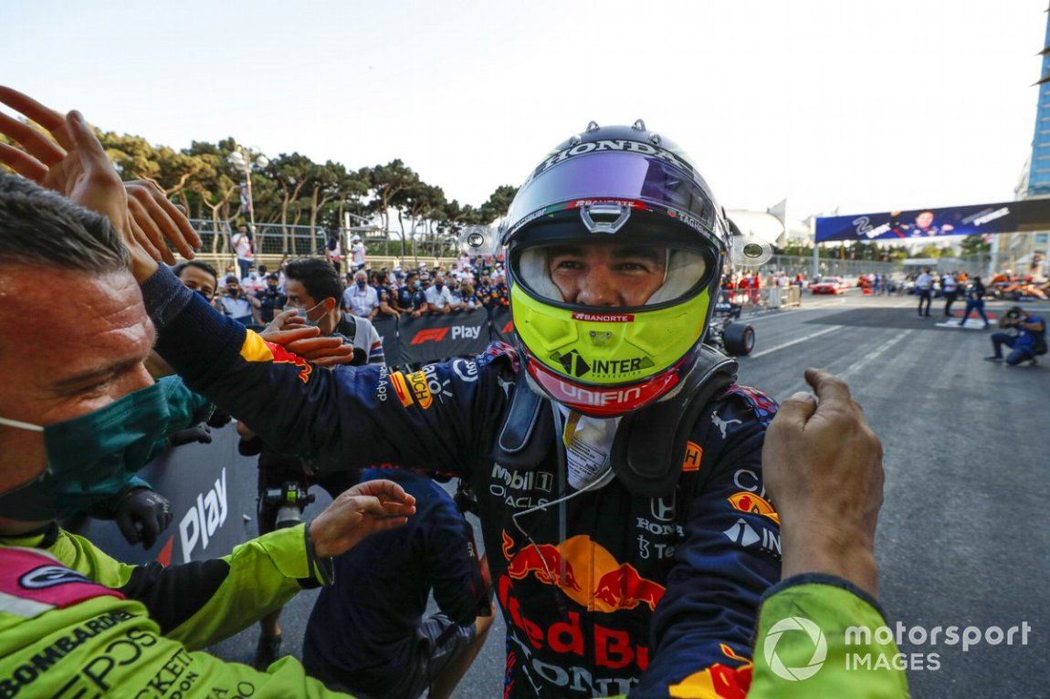 Sergio Perez, Red Bull Racing, 1st classified, celebrates upon arrival at the Parco Chiuso