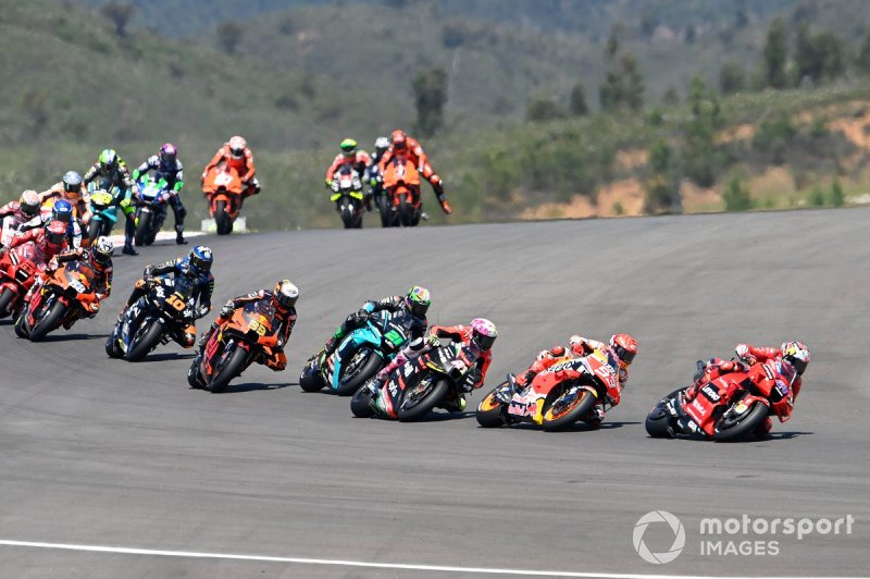 MotoGP pack at the start of the 2021 Portuguese GP