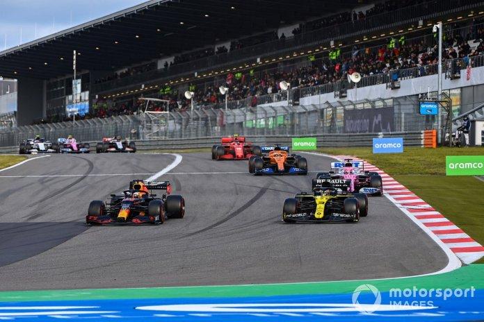 Max Verstappen, Red Bull Racing RB16, Daniel Ricciardo, Renault F1 Team R.S.20, Sergio Perez, Racing Point RP20, Carlos Sainz Jr., McLaren MCL35, Charles Leclerc, Ferrari SF1000