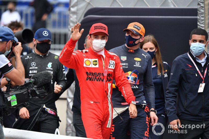 Pole man Charles Leclerc, Ferrari, and Max Verstappen, Red Bull Racing, in Parc Ferme
