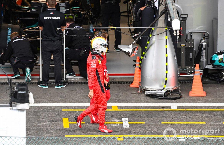 Sebastian Vettel, Ferrari SF1000, in the pit lane after Q2