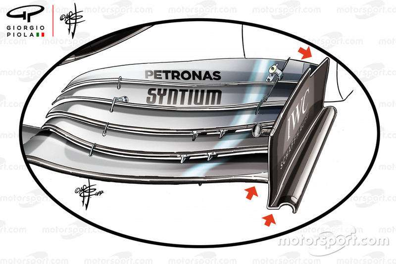 Mercedes-AMG F1 W10 front wing detail