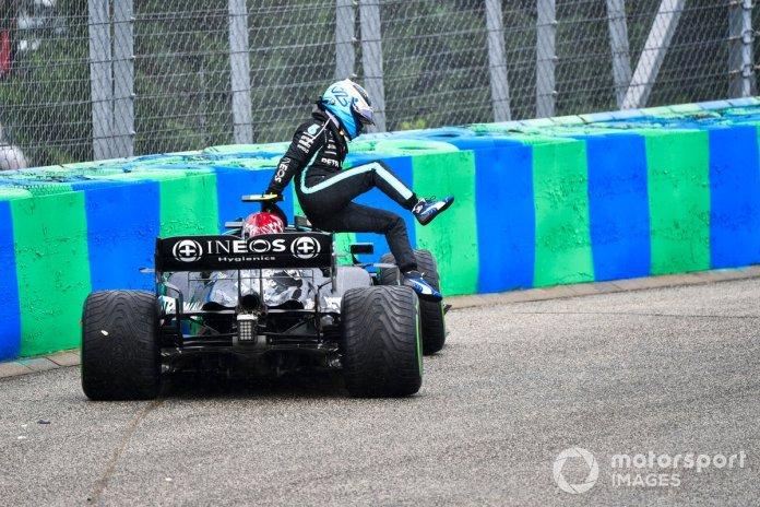 Valtteri Bottas, Mercedes, climbs out of his car
