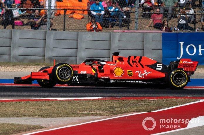 Sebastian Vettel, Ferrari SF90, si ritira con la sospensione rotta