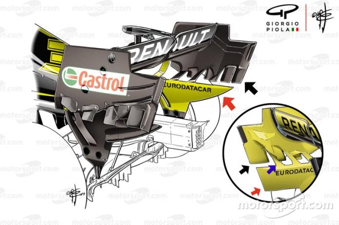 Comparación del alerón trasero del Renault F1 Team R.S.19