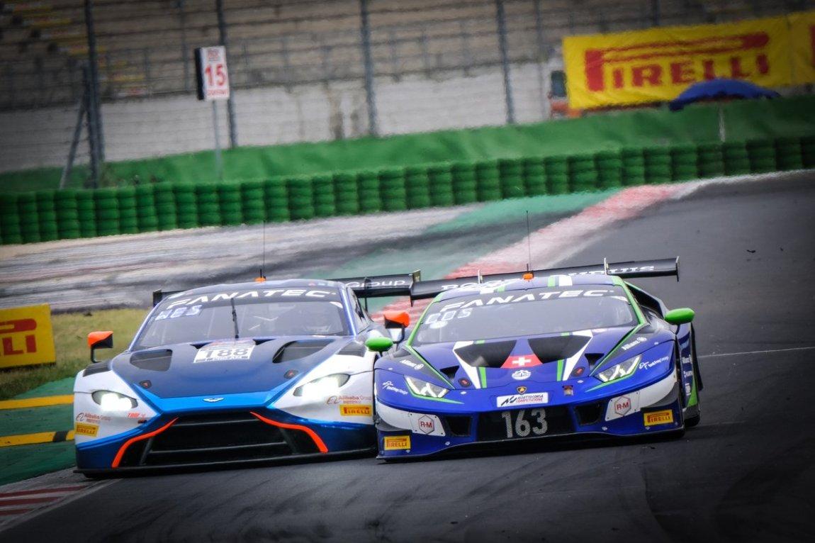 # 188 Garage 59 Aston Martin Vantage AMR GT3: Alexander West, Jonny Adam, # 163 Emil Frey Racing Lamborghini Huracan GT3 Evo: Norbert Siedler, Albert Costa