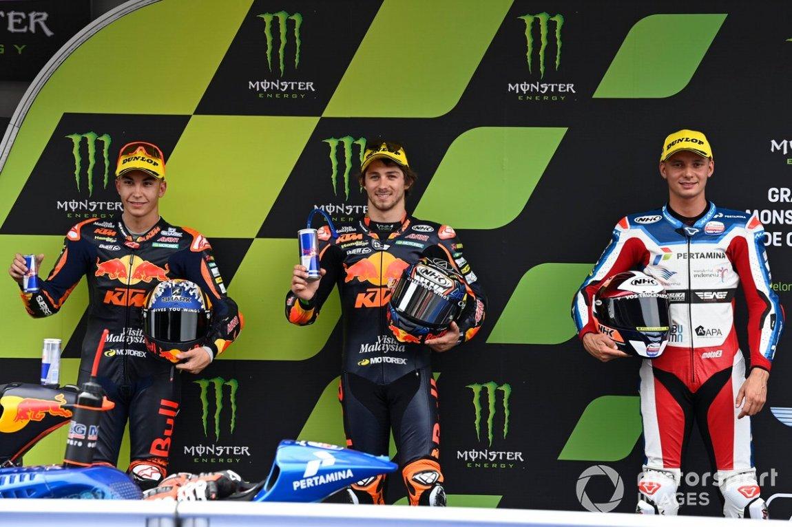 Remy Gardner, Red Bull KTM Ajo, Raul Fernandez, Red Bull KTM Ajo, Bo Bendsneyder, Pertamina Mandalika SAG Team
