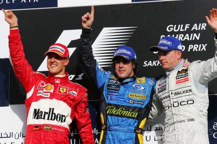 25- Fernando Alonso, 1º en el GP de Bahrein 2006 con Renault