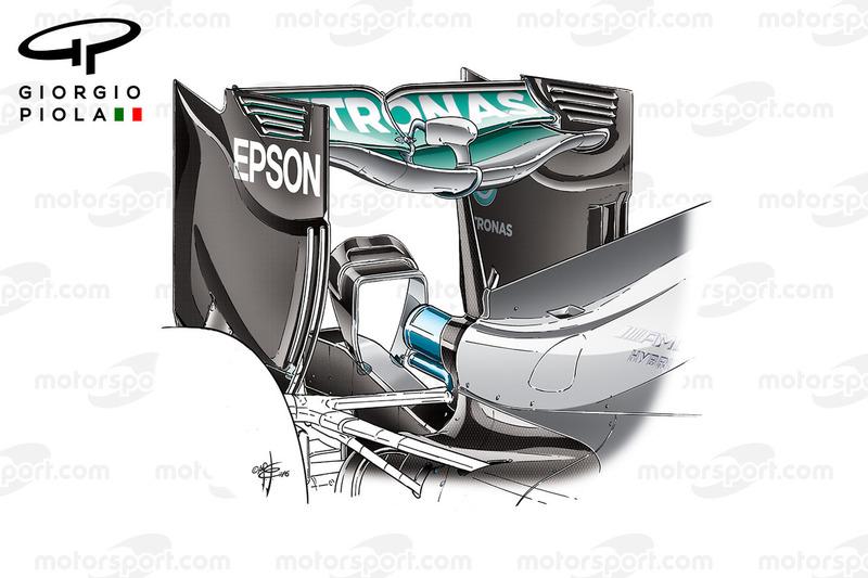 Mercedes W07, l'ala posteriore usata al GP del Belgio