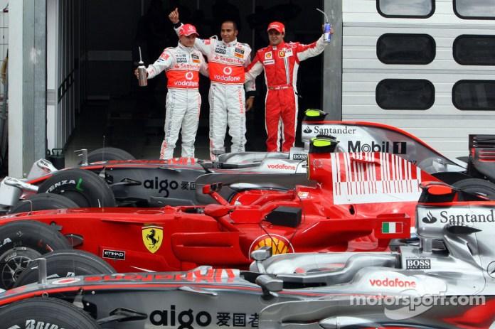 Lewis Hamilton con Felipe Massa y Heikki Kovalainen en Alemania 2008