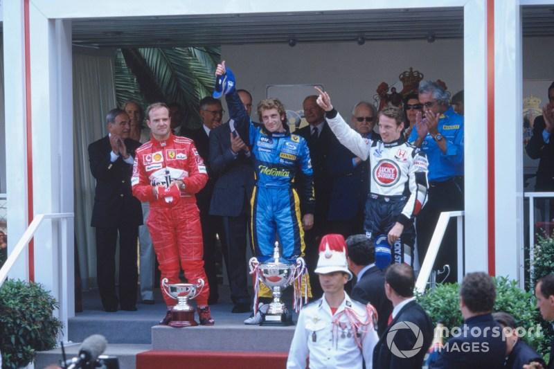 Jarno Trulli, Renault R24, Jenson Button, BAR Honda 006 and Rubens Barrichello, Ferrari F2004 celebrate on the podium, 2004 Monaco GP, F1