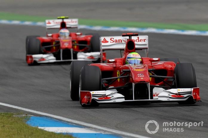 Hockenheimring, Hockenheim, Germany 25th July 2010 Felipe Massa, Ferrari F10, 2nd position, leads Fernando Alonso, Ferrari F10, 1st position