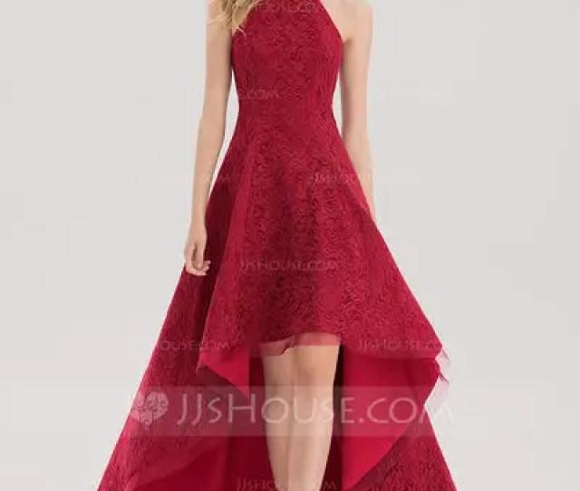 A Line Princess Square Neckline Asymmetrical Lace Prom Dresses