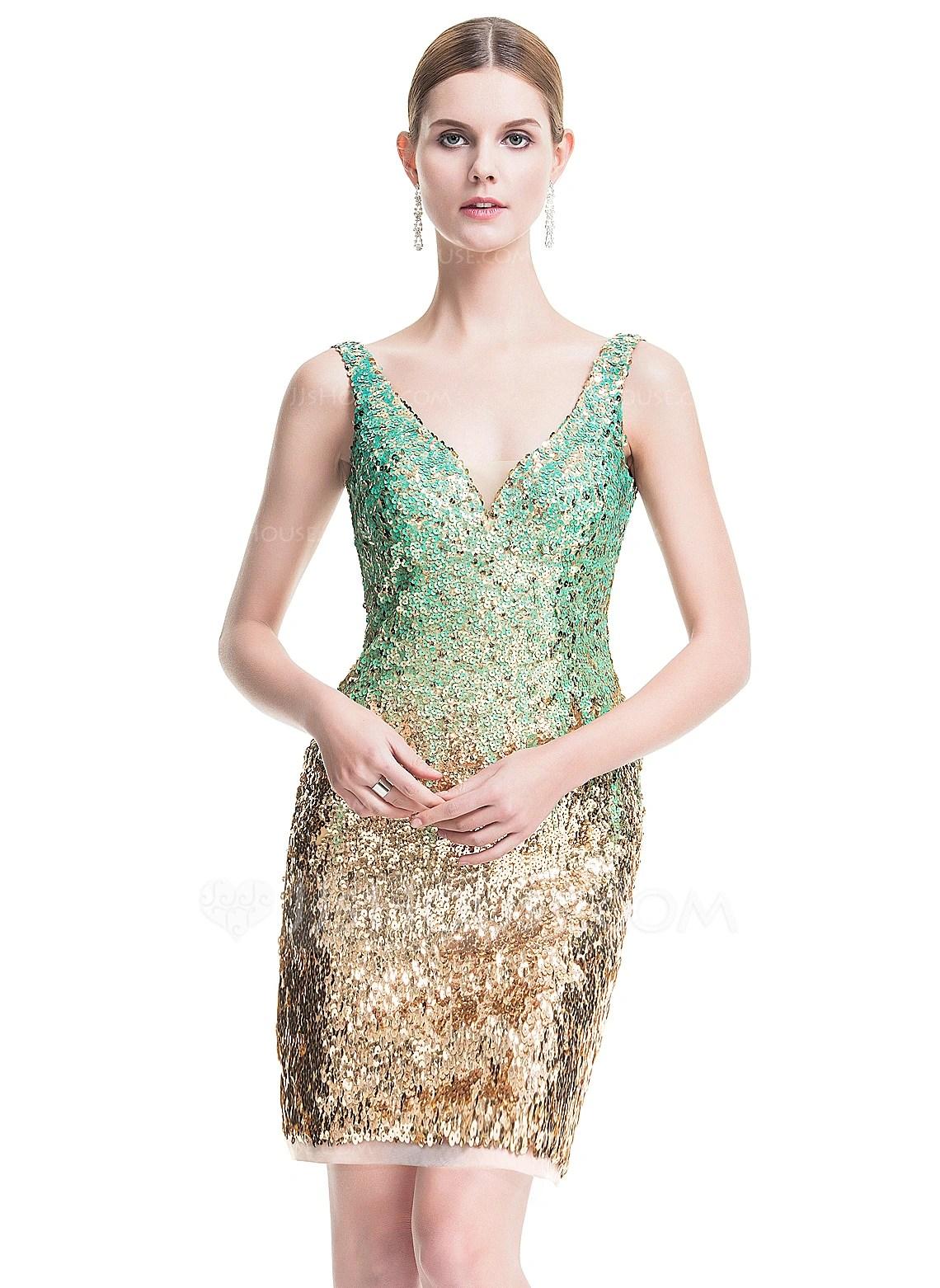 SheathColumn V Neck ShortMini Sequined Cocktail Dress