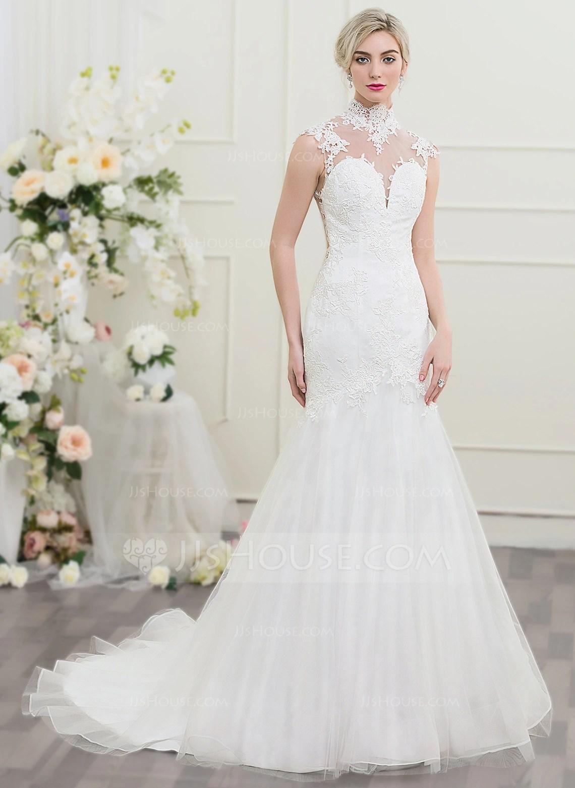 TrumpetMermaid High Neck Chapel Train Tulle Wedding Dress