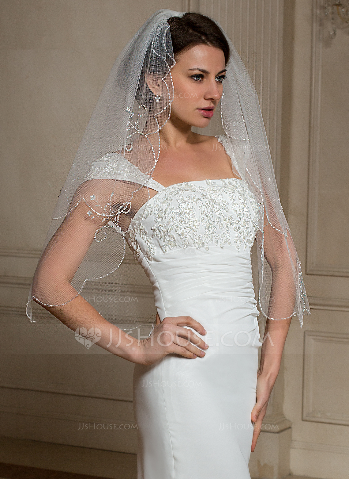 Two Tier Elbow Bridal Veils With Beaded Edge 006024466