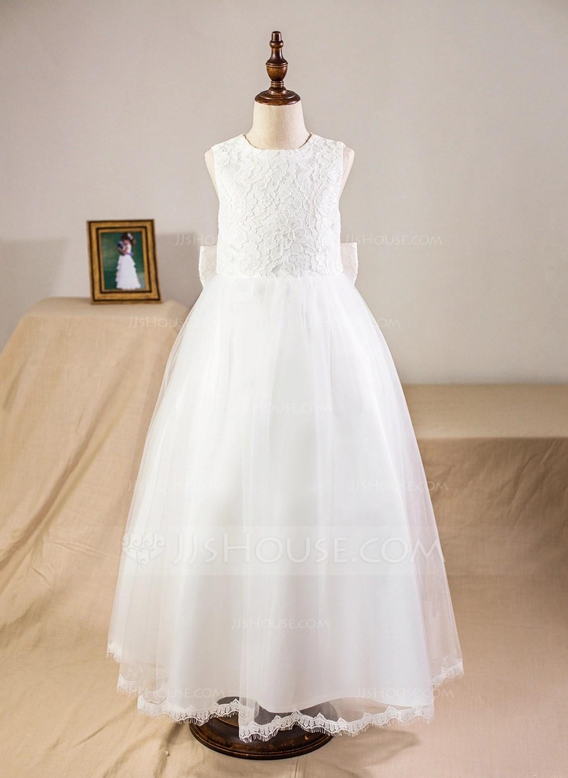 Ball Gown Ankle Length Flower Girl Dress SatinTulle