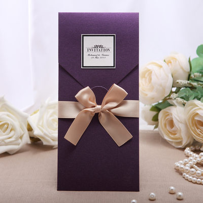 Personalized Vintage Style Wrap Pocket Invitation Cards With Ribbons Set Of 50 114050652