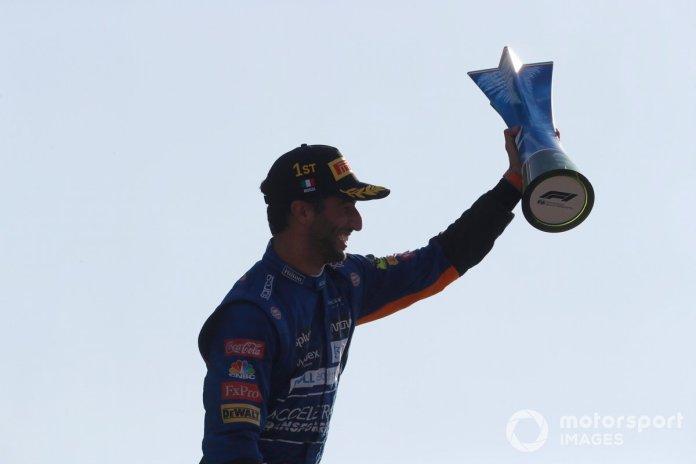 Daniel Ricciardo, McLaren, 1st position, with his trophy