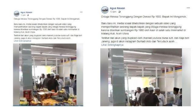 Diduga tidak terima diberi sumbangan Rp 1000, pria dan puluhan warga ini ngamuk pada kasir Indomaret