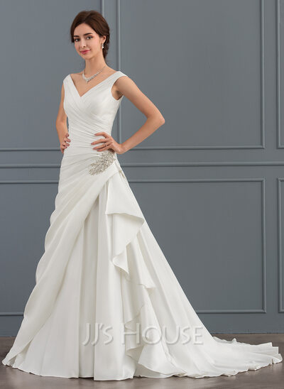 A LinePrincess V Neck Court Train Satin Wedding Dress