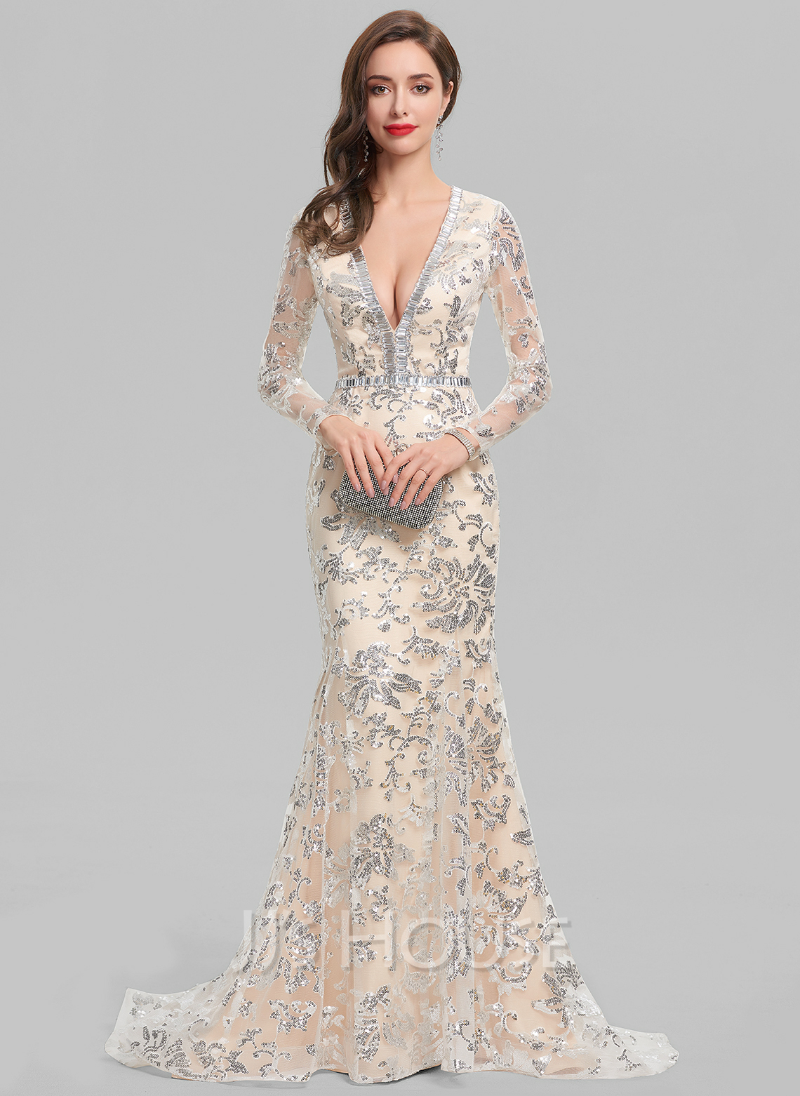 TrumpetMermaid V Neck Sweep Train Lace Evening Dress With