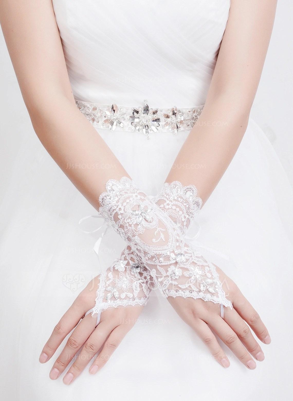 Tulle Bridal Gloves 014072542 Gloves JJsHouse