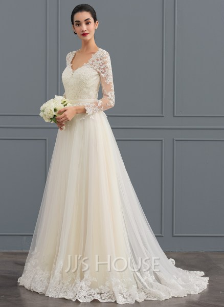 Ball Gown V neck Sweep Train Tulle Wedding Dress  002124280     Ball Gown V neck Sweep Train Tulle Wedding Dress  Loading zoom