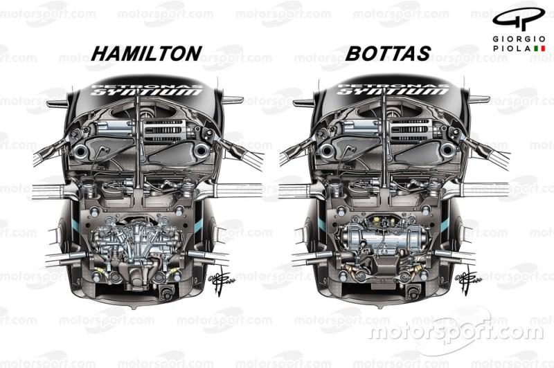Mercedes AMG F1 W11 stuurbekrachting met en zonder DAS