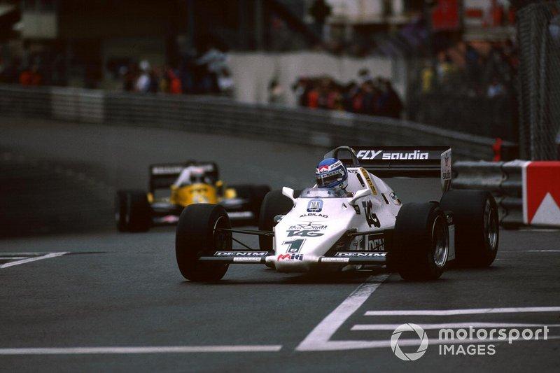 Keke Rosberg, Williams FW08C leads Alain Prost