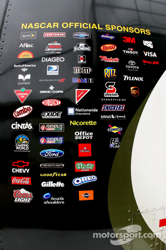 NASCAR sponsors are listed on the side of the Sprint Cup Trailor at Texas