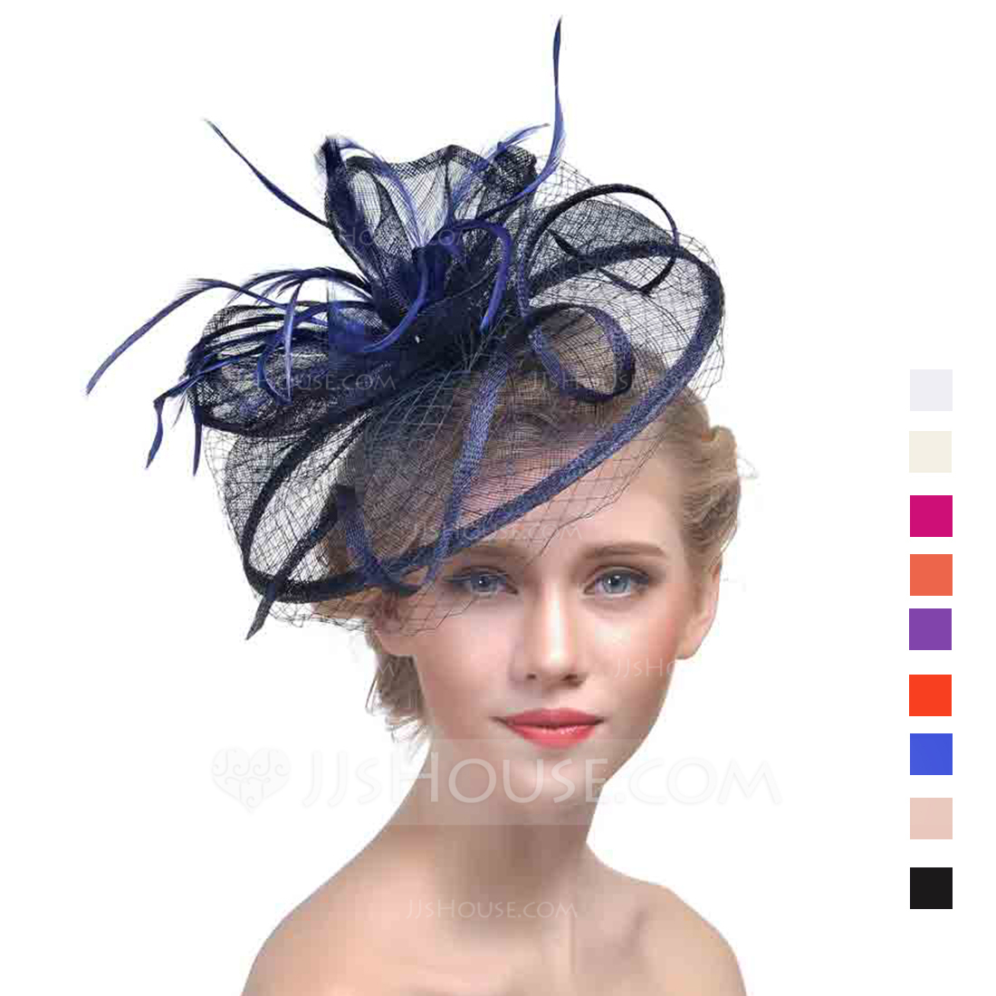Ladies Classic Cambric With Feather Fascinators