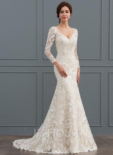 Trumpet Mermaid V neck Sweep Train Lace Wedding Dress  002127261     Trumpet Mermaid V neck Sweep Train Lace Wedding Dress  Loading zoom