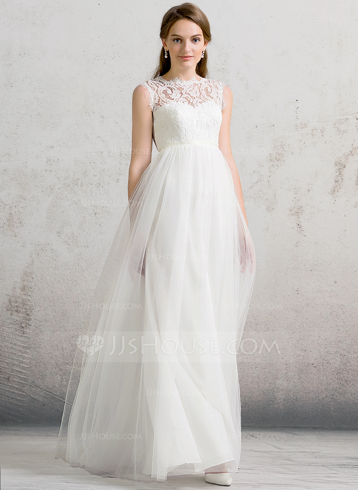 A LinePrincess Scoop Neck Floor Length Tulle Wedding