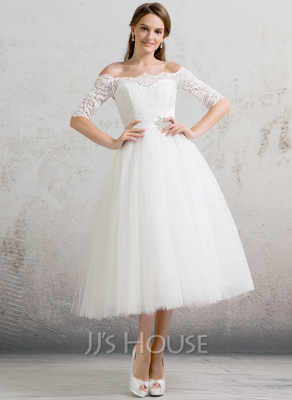 Ball Gown Off The Shoulder Tea Length Tulle Wedding Dress
