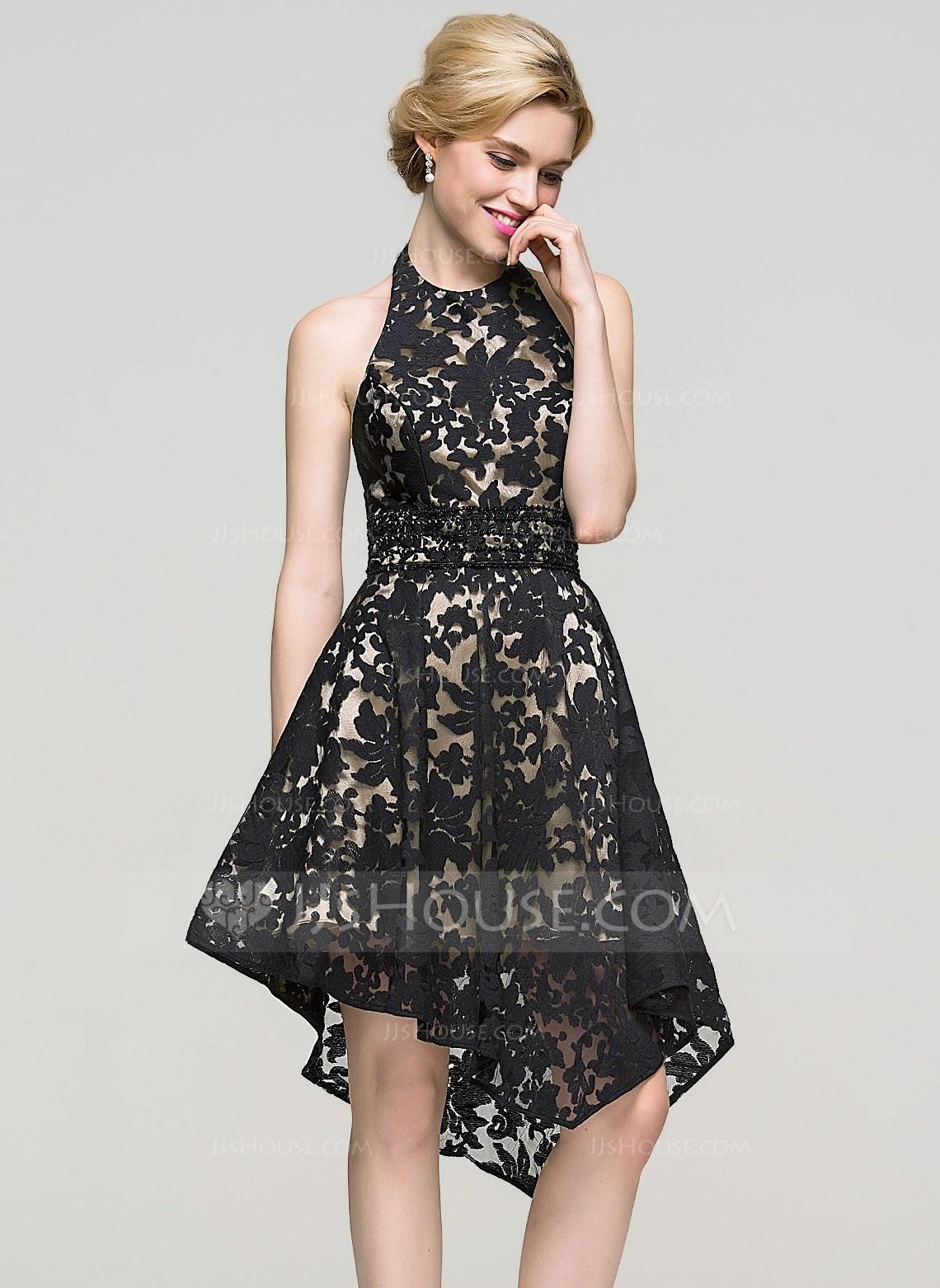A LinePrincess Halter Asymmetrical Lace Cocktail Dress