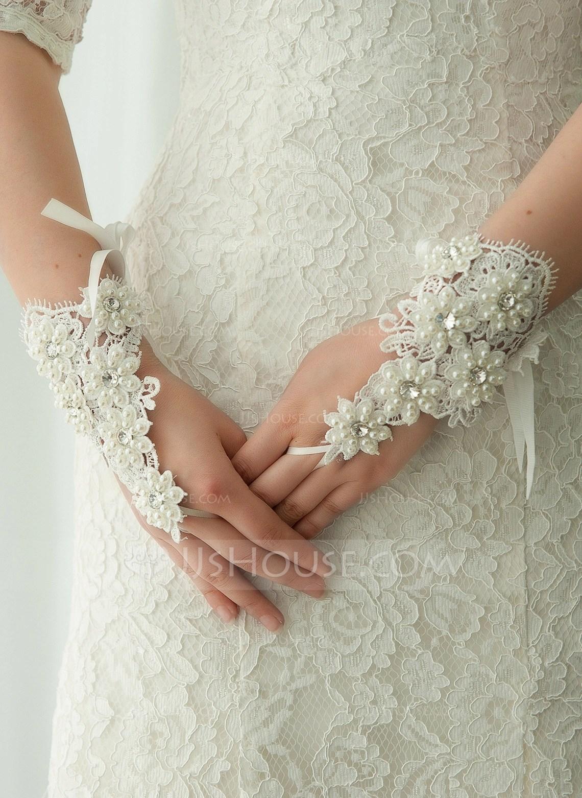 Lace Wrist Length Bridal Gloves 014125683 Gloves