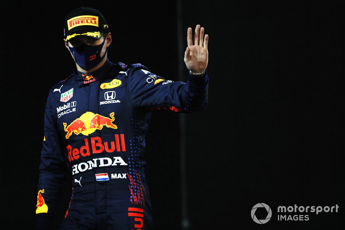Max Verstappen, Red Bull Racing, 2nd position, at Parc Ferme