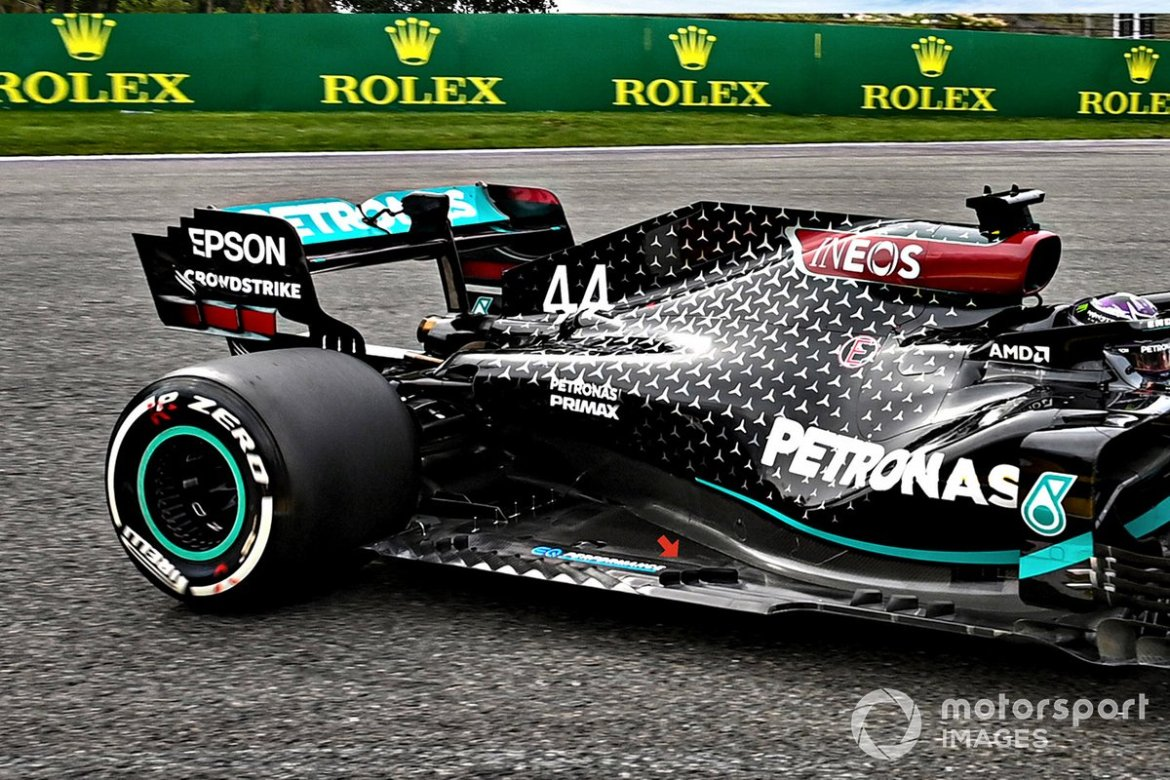 Details of the Mercedes F1 W11 fund with the addition of three other vortex generators.