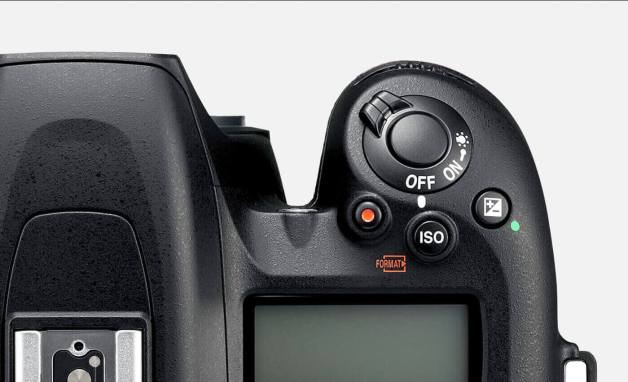 close up of the D7500's grip and on/off controls